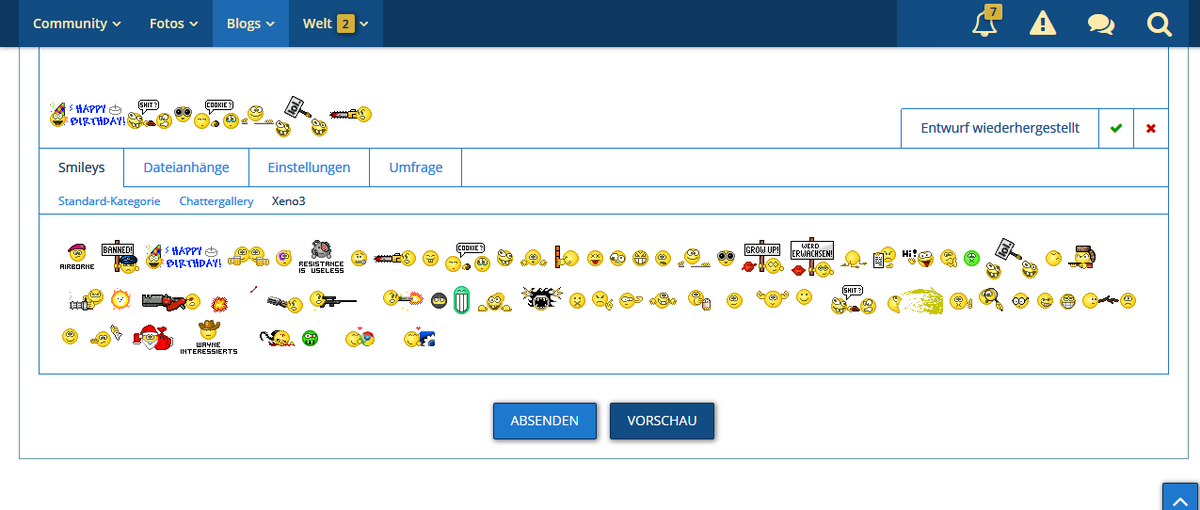 Xeno³ Smiley Gruppe - Chattergalerie