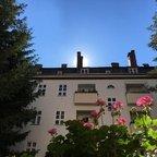 Sonnenaufgang im Berliner Hinterhof mit Blumenbalkon